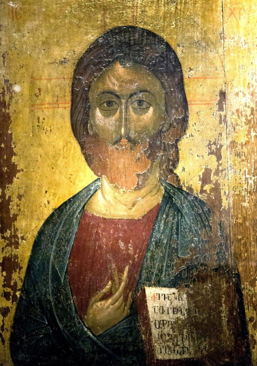 Христос Пантократор (Вседержитель). Икона из деисиса монастыря Убиса (Убиси). Грузия, XIV век.