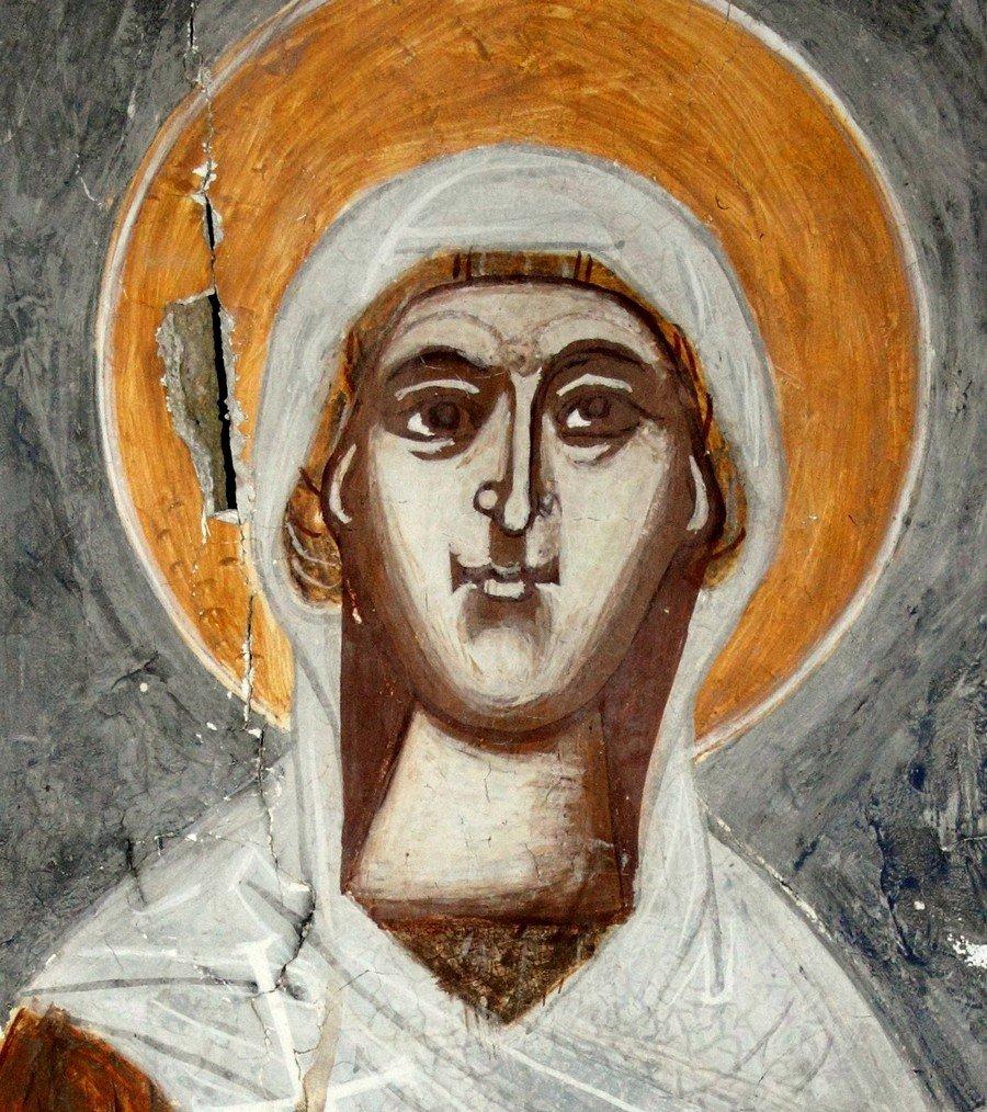 Святая Великомученица Анастасия Узорешительница. Фреска собора Рождества Пресвятой Богородицы в монастыре Гелати, Грузия.