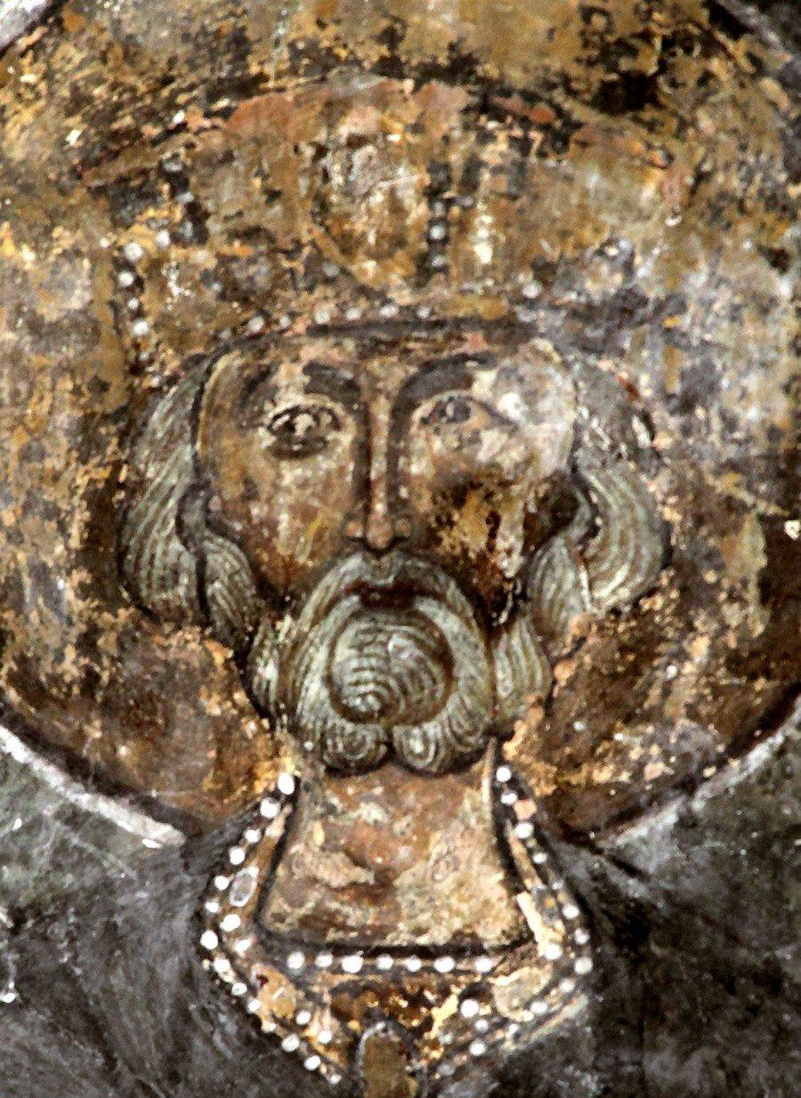 Святой Пророк Царь Давид. Фреска храма Святой Марины в монастыре Сапара, Грузия. XIV век.