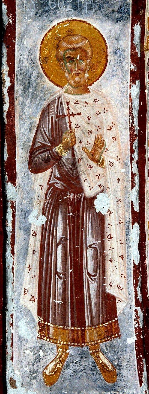 Священномученик Зотик Сиропитатель. Фреска собора Христа Спасителя в Цаленджихе, Грузия. 1384 - 1396 годы. Иконописец Мануил Евгеник.