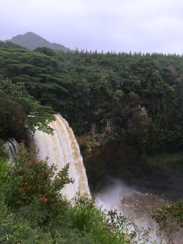 Гавайские острова. Один из водопадов на острове Кауаи.