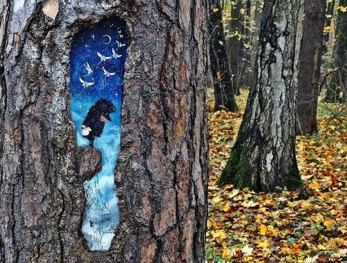 Рисунок на дереве.