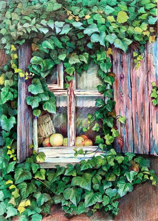 Ольга Петровна Соболева (род. в 1963 году). Окно старого дома.
