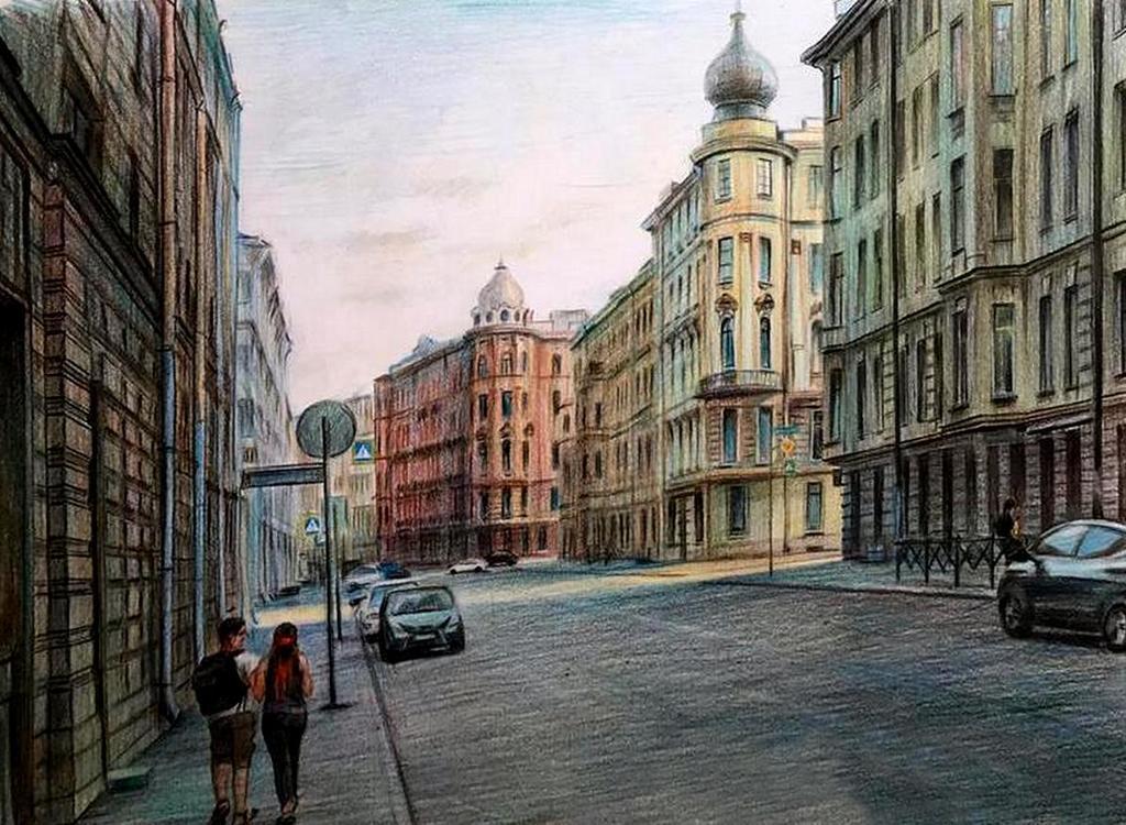 Ольга Петровна Соболева (род. в 1963 году).Городской пейзаж.
