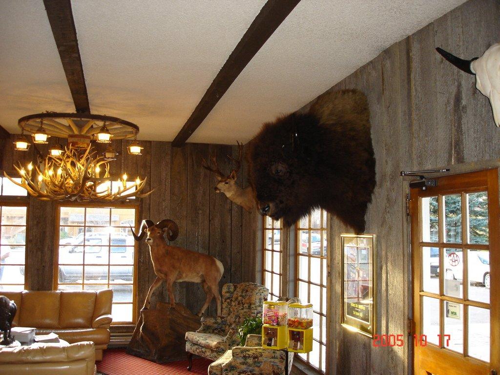 В холле отеля. Люстра из рогов.