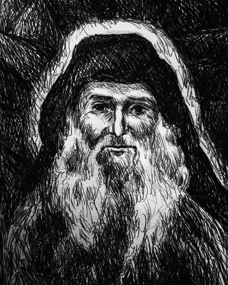 Святой Преподобный Гавриил (Ургебадзе), Самтаврийский. Рисунок.