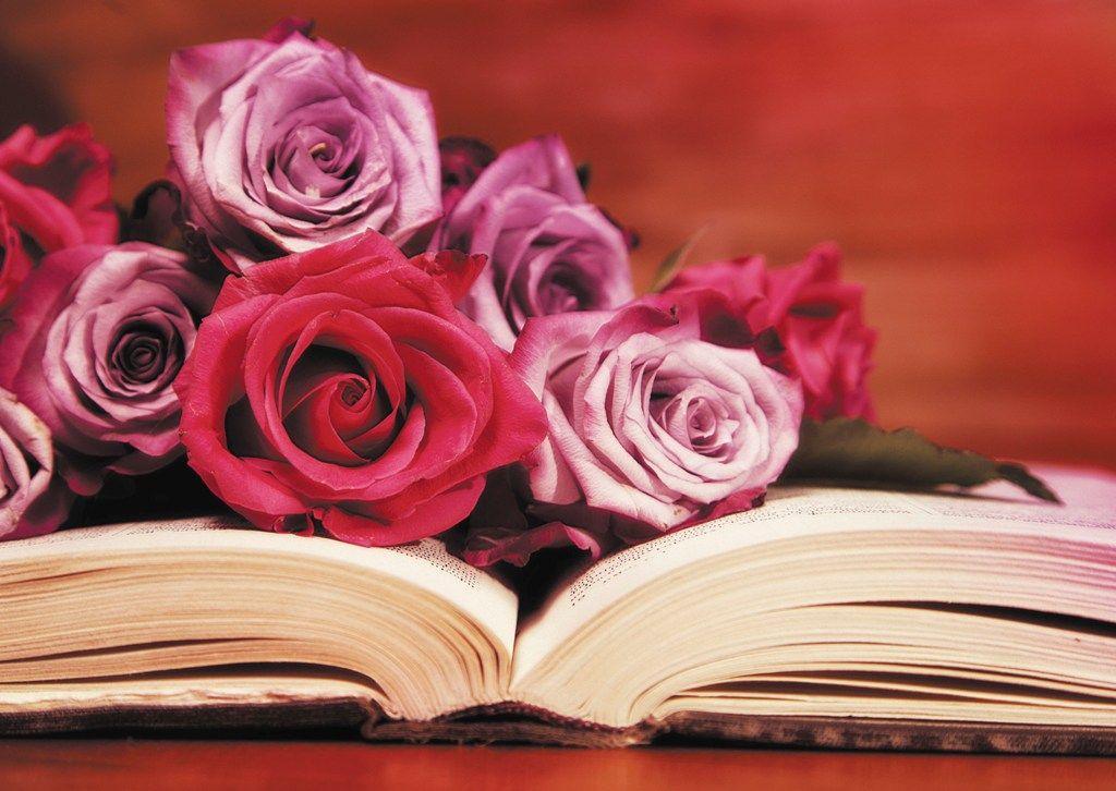 Днем рождения, открытка с днем учителя цветы на книге