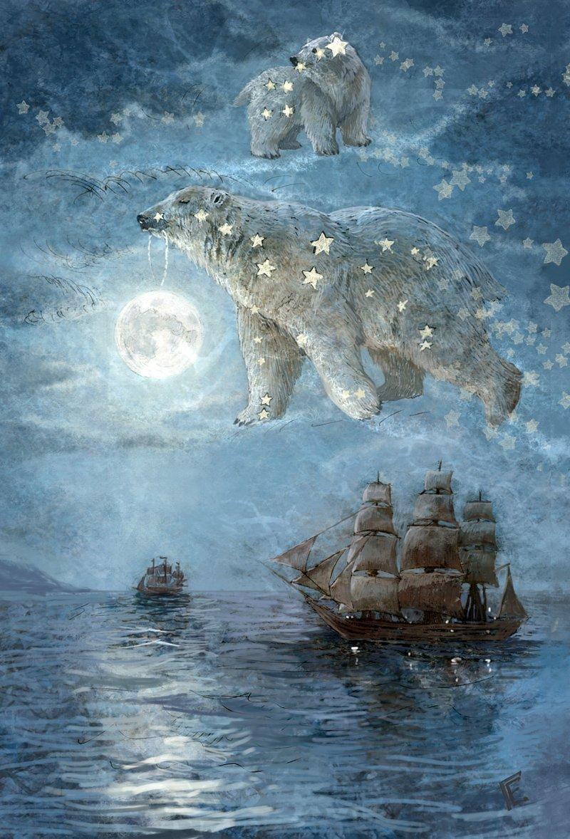 Днем, открытка большая медведица