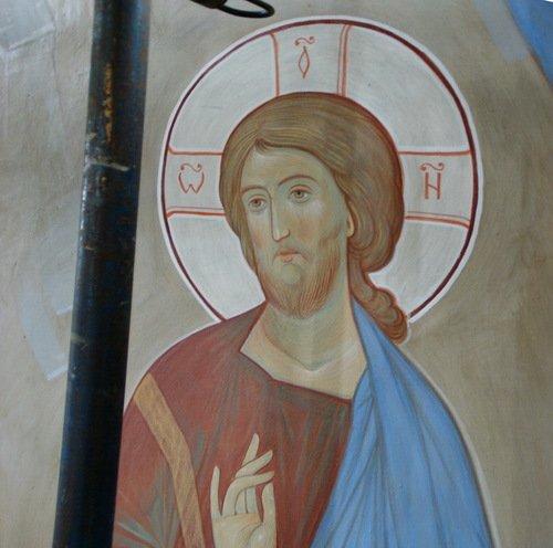 Образ Спаса (в процессе написания) из церкви Спаса Всемилостивого в Митино