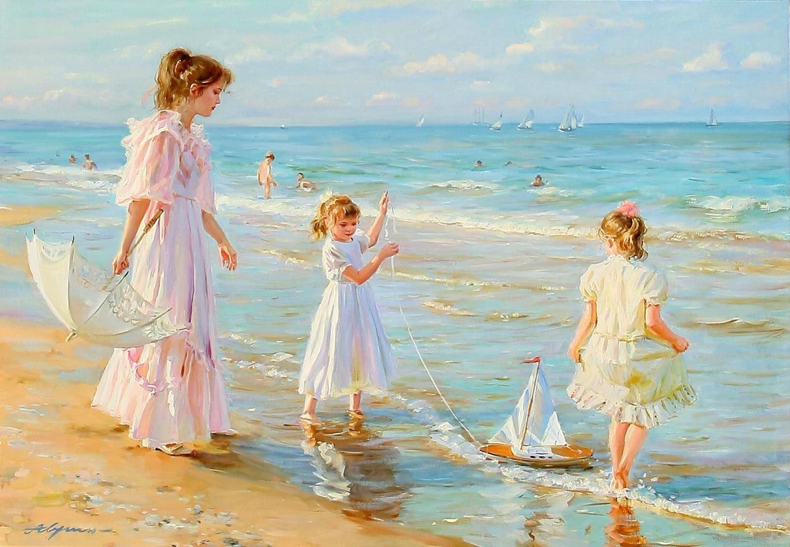 Картинки, семьи на море открытки