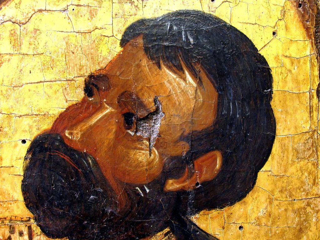 Распятие Господне. Византийская икона второй половины XIV века из Монемвасии. Византийский музей в Афинах. Фрагмент. Святой Лонгин Сотник.