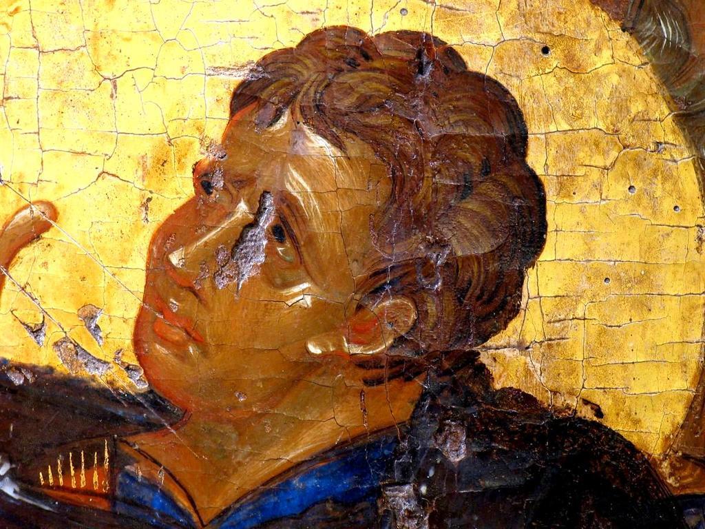 Распятие Господне. Византийская икона второй половины XIV века из Монемвасии. Византийский музей в Афинах. Фрагмент. Святой Апостол Иоанн Богослов.