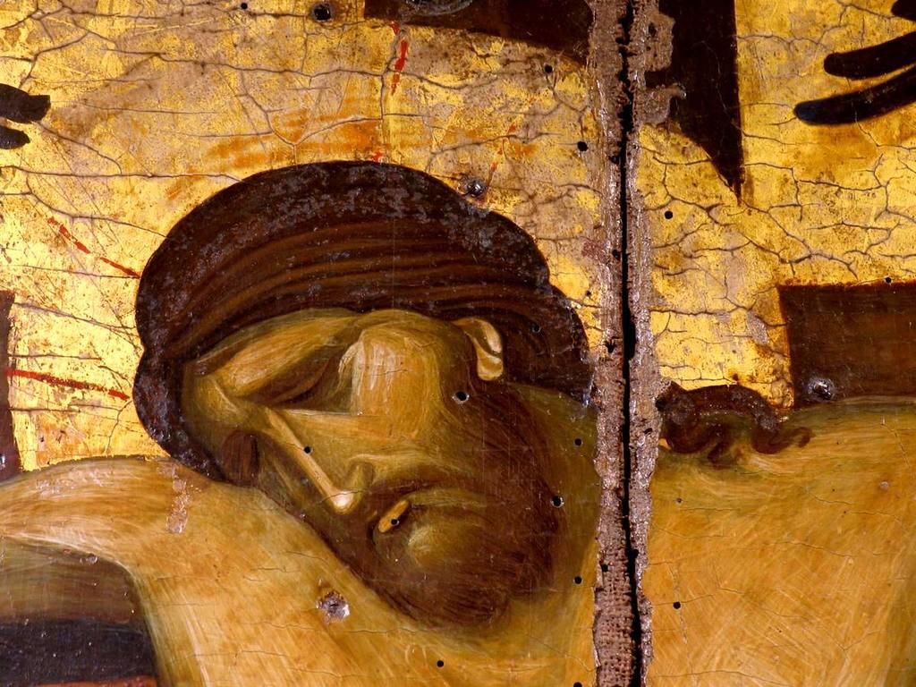 Распятие Господне. Византийская икона второй половины XIV века из Монемвасии. Византийский музей в Афинах. Фрагмент.