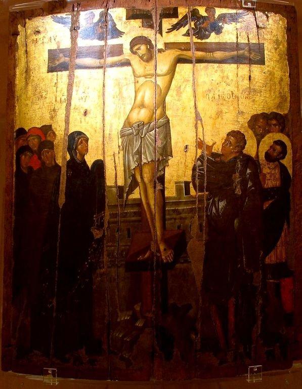 Распятие Господне. Византийская икона второй половины XIV века из Монемвасии. Византийский музей в Афинах.