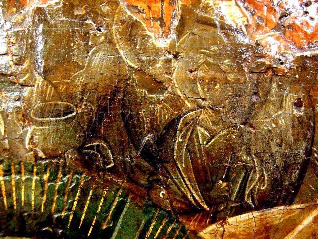 Сошествие во ад. Византийская икона начала XIV века. Галерея икон в Охриде, Македония. Фрагмент. Ангелы Господни.