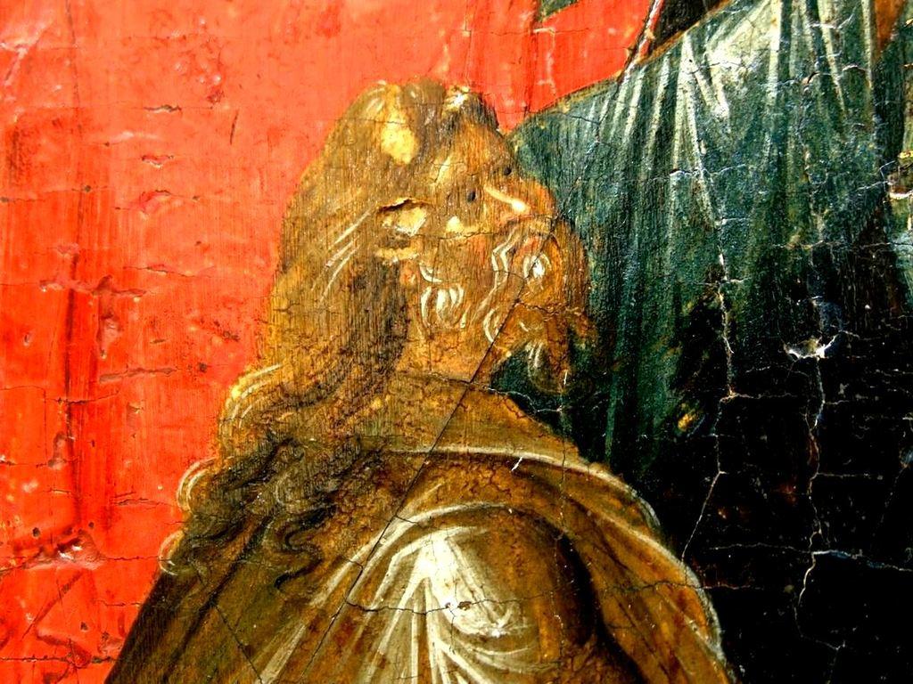 Сошествие во ад. Византийская икона начала XIV века. Галерея икон в Охриде, Македония. Фрагмент. Святой Праотец Адам, вызволяемый из ада Спасителем мира.