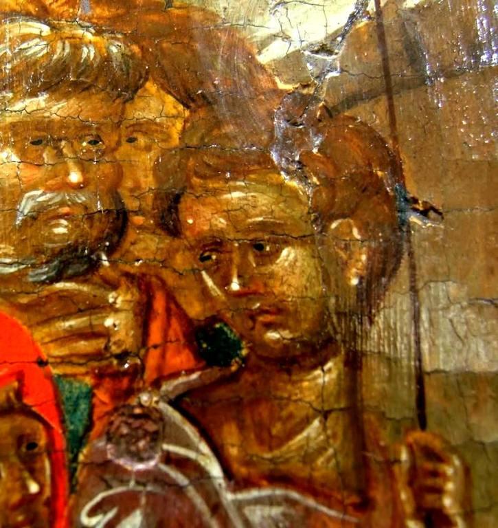 Сошествие во ад. Византийская икона начала XIV века. Галерея икон в Охриде, Македония. Святые Праведные Авель и Иосиф Обручник, вызволенные Господом Иисусом Христом из ада.