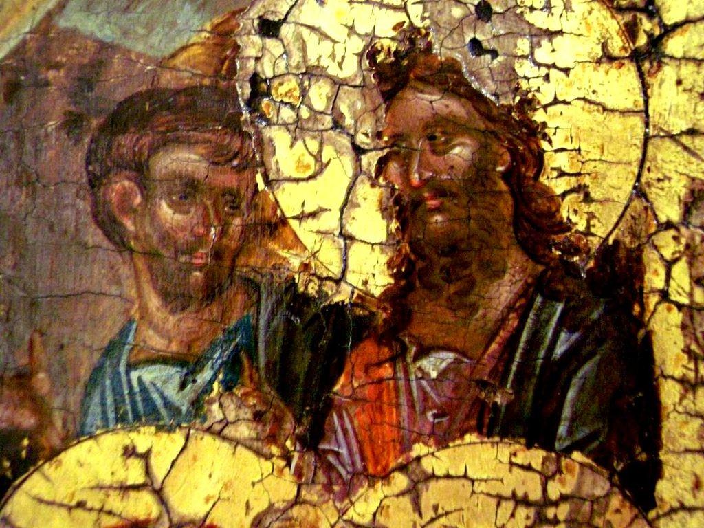 Сошествие во ад. Византийская икона начала XIV века. Галерея икон в Охриде, Македония. Фрагмент. Святые Пророки Моисей и Иоанн Предтеча, вызволенные Господом из ада.