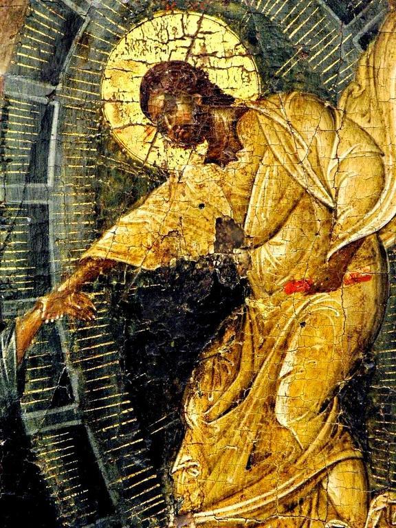 Сошествие во ад. Византийская икона начала XIV века. Галерея икон в Охриде, Македония. Фрагмент. Спаситель вызволяет из ада Праотца Адама.