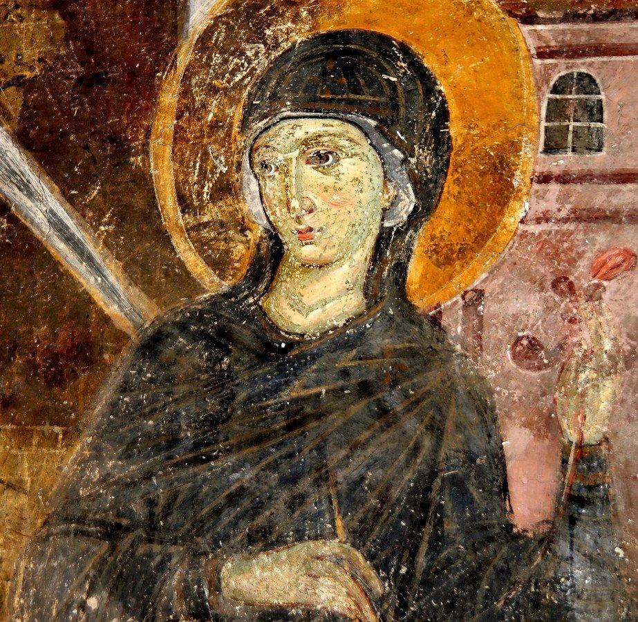 """Пресвятая Богородица. Фрагмент фресковой композиции """"Благовещение"""". Церковь Вознесения Господня в монастыре Милешева (Милешево), Сербия. До 1228 года."""