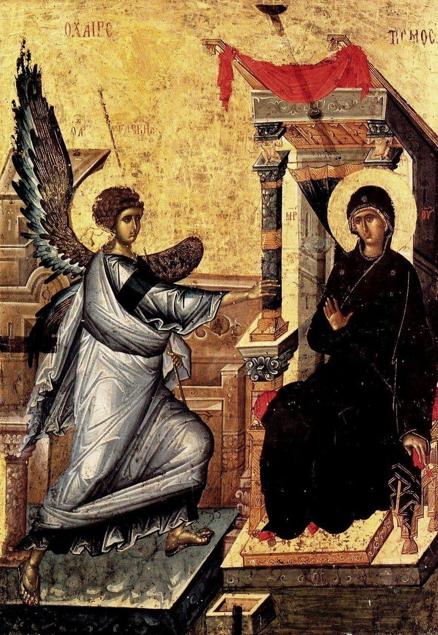 Благовещение Пресвятой Богородицы. Византийская икона первой четверти XIV века. Галерея икон в Охриде, Македония.