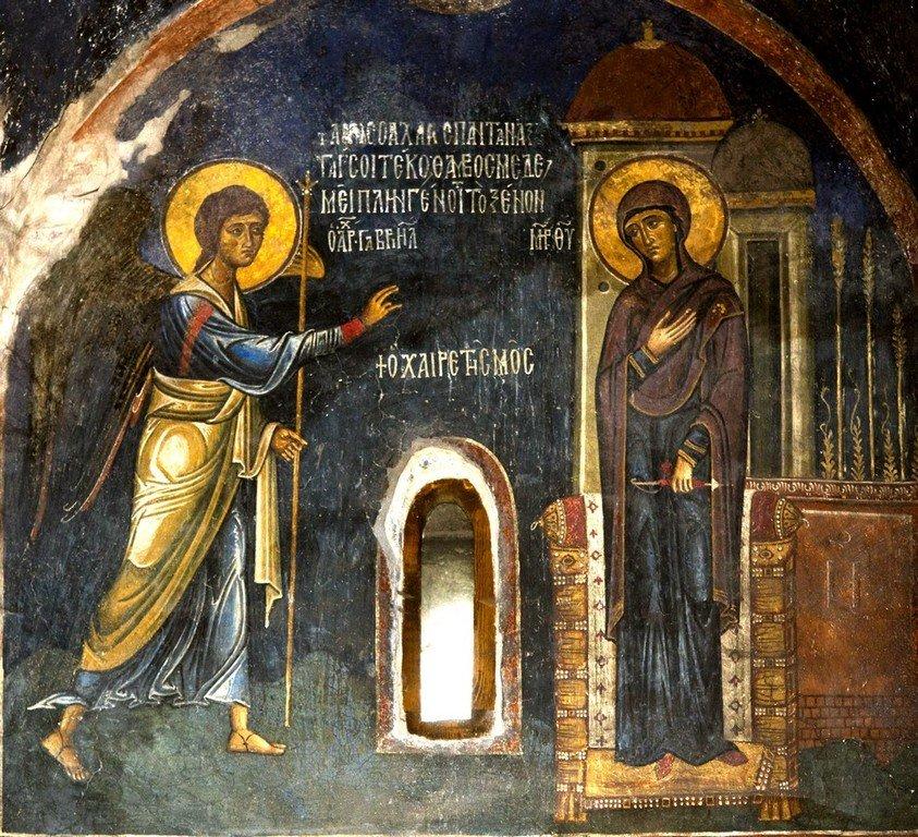 Благовещение Пресвятой Богородицы. Фреска церкви Святого Стефана в Кастории, Греция. Конец XII - начало XIII веков.