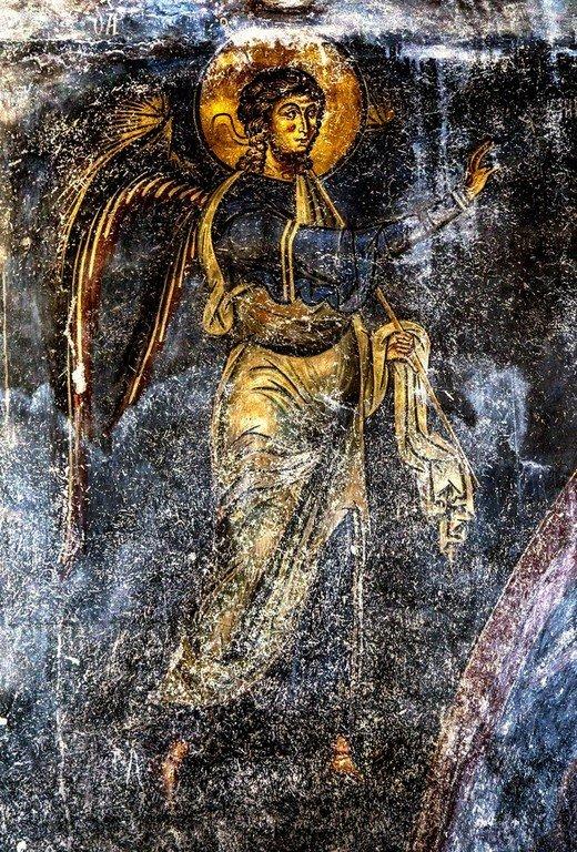 Благовещение Пресвятой Богородицы. Фреска церкви Святого Николая Каснициса в Кастории, Греция. Конец XII века. Фрагмент.