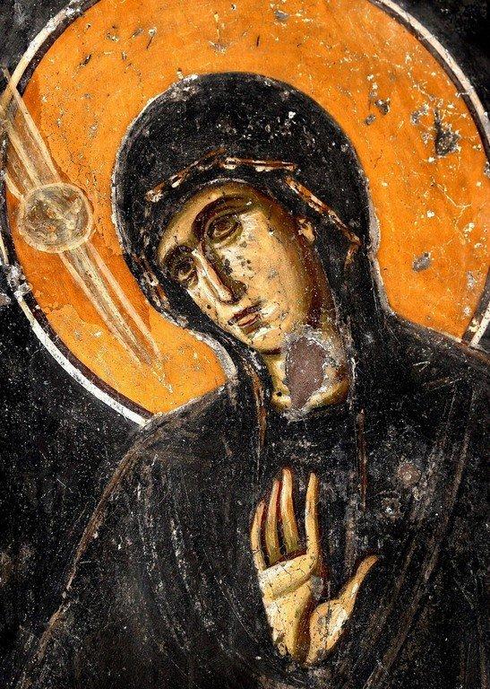 Благовещение Пресвятой Богородицы. Фреска церкви Святого Ахиллия в Ариле (Арилье), Сербия. 1296 год. Фрагмент.