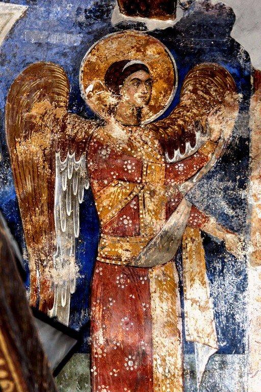 Благовещение Пресвятой Богородицы. Фреска церкви Святого Димитрия в Марковом монастыре близ Скопье, Македония. Около 1376 года. Фрагмент.