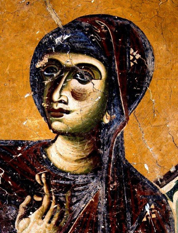 Благовещение Пресвятой Богородицы. Фреска церкви Святого Георгия в Курбиново, Македония. 1191 год. Фрагмент.