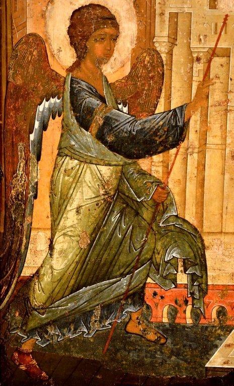 Благовещение Пресвятой Богородицы. Икона Преподобного Андрея Рублёва из Успенского собора во Владимире. 1408 год. Фрагмент.
