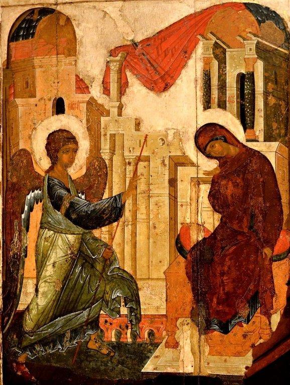 Благовещение Пресвятой Богородицы. Икона Преподобного Андрея Рублёва из Успенского собора во Владимире. 1408 год.