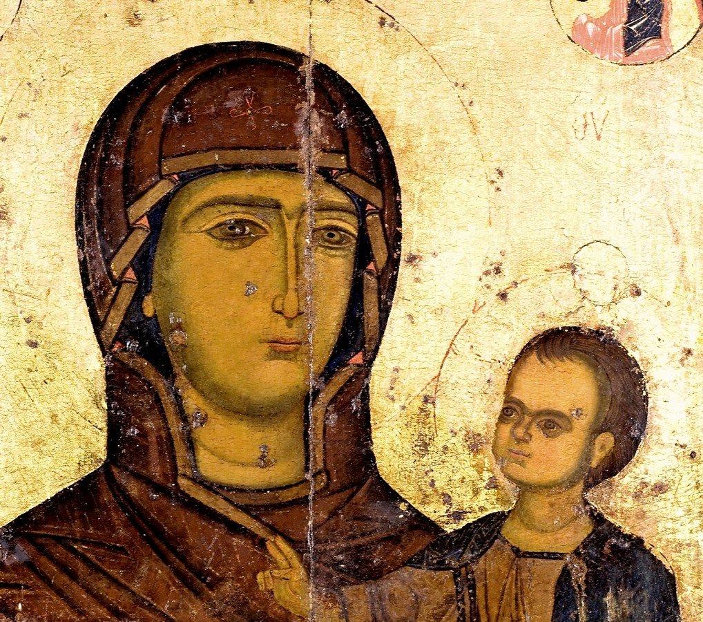 Богоматерь Одигитрия. Сирийская икона XIII века в монастыре Успения Богородицы в Кафтуне, Ливан. Фрагмент.