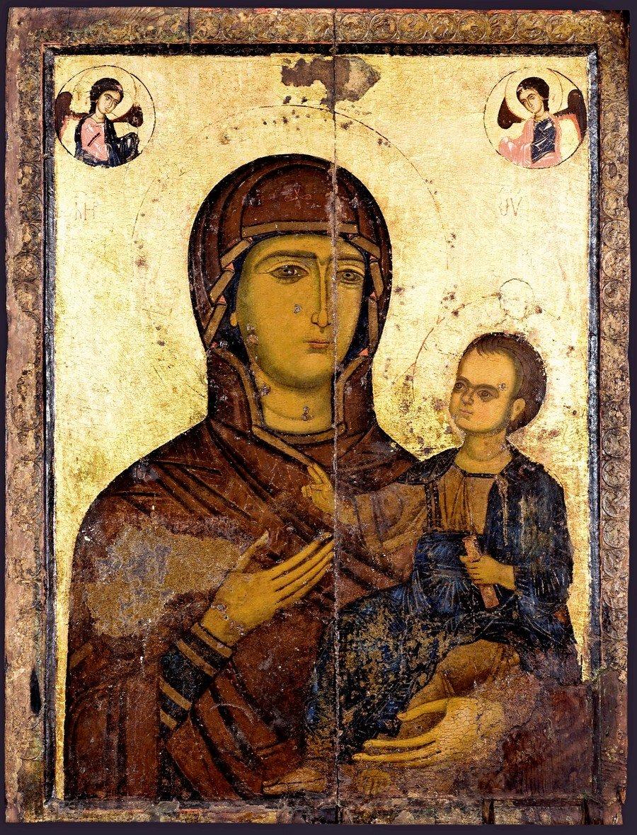 Богоматерь Одигитрия. Сирийская икона XIII века в монастыре Успения Богородицы в Кафтуне, Ливан.
