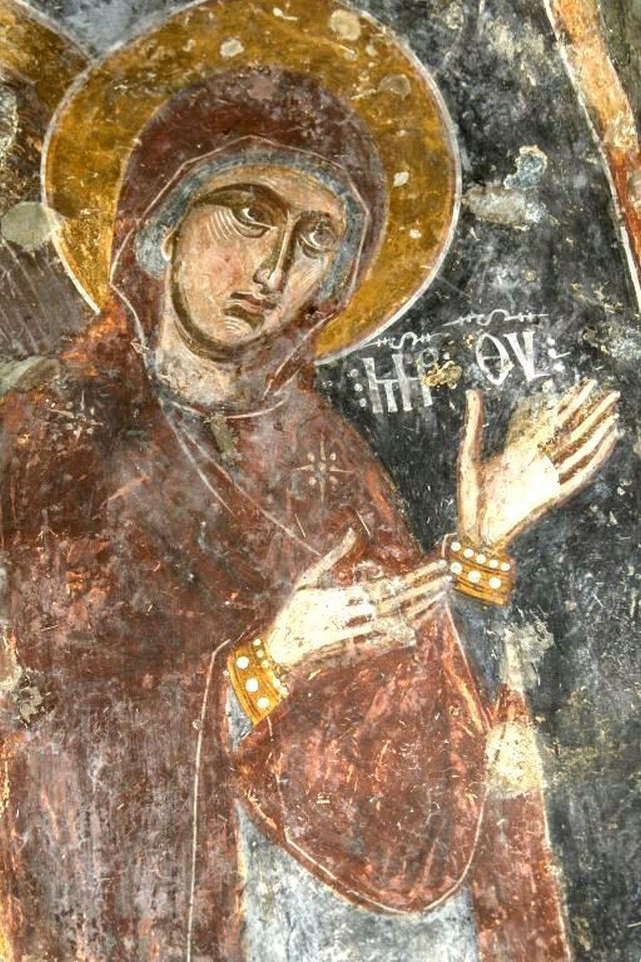 Пресвятая Богородица. Фреска Нузальской церкви (Северная Осетия). Конец XIII - начало XIV века.