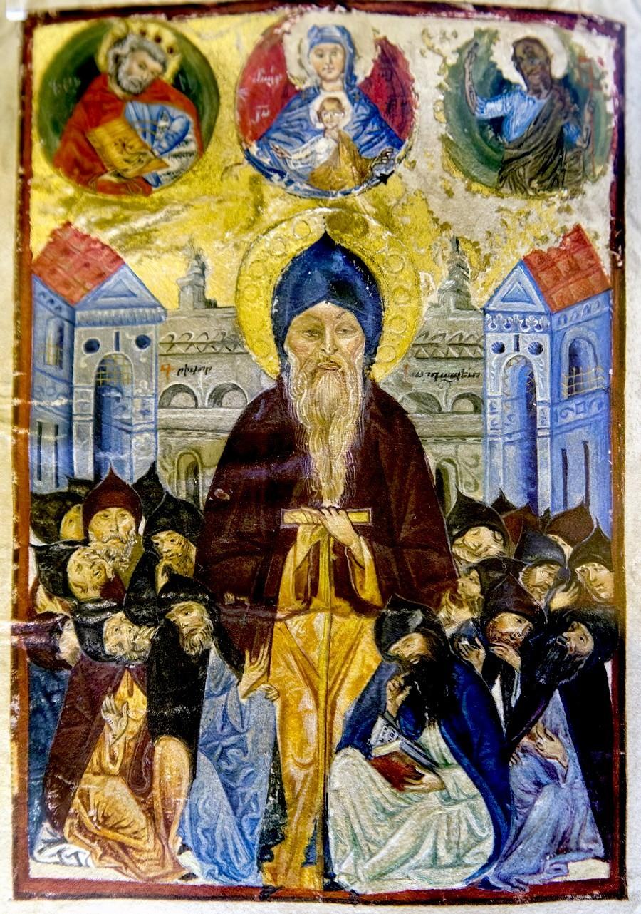 """Григор Татеваци и его ученики. Миниатюра """"Толкования Псалмов Давида"""" Григора Татеваци. 1449 год. Матенадаран."""