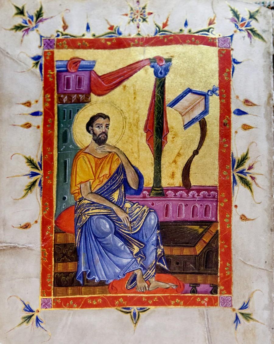 Святой Апостол и Евангелист Марк. Армянская миниатюра. Киликия, XIII век. Матенадаран.