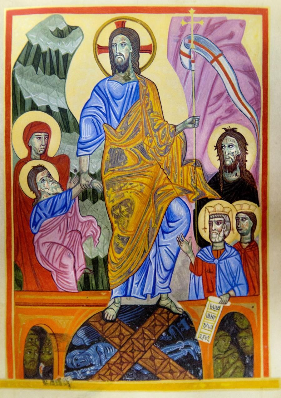 Сошествие во ад. Армянская миниатюра. Киликия или Крым, XIII - XIV век. Матенадаран.