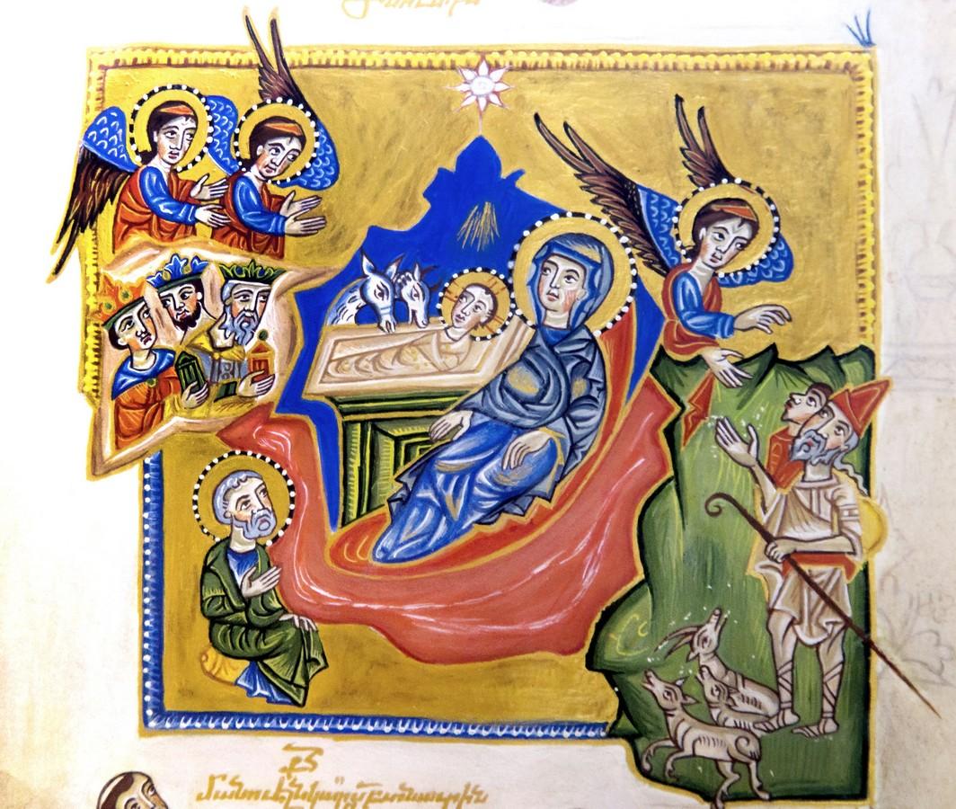 Рождество Христово. Армянская миниатюра. Киликия, XIII век. Матенадаран.