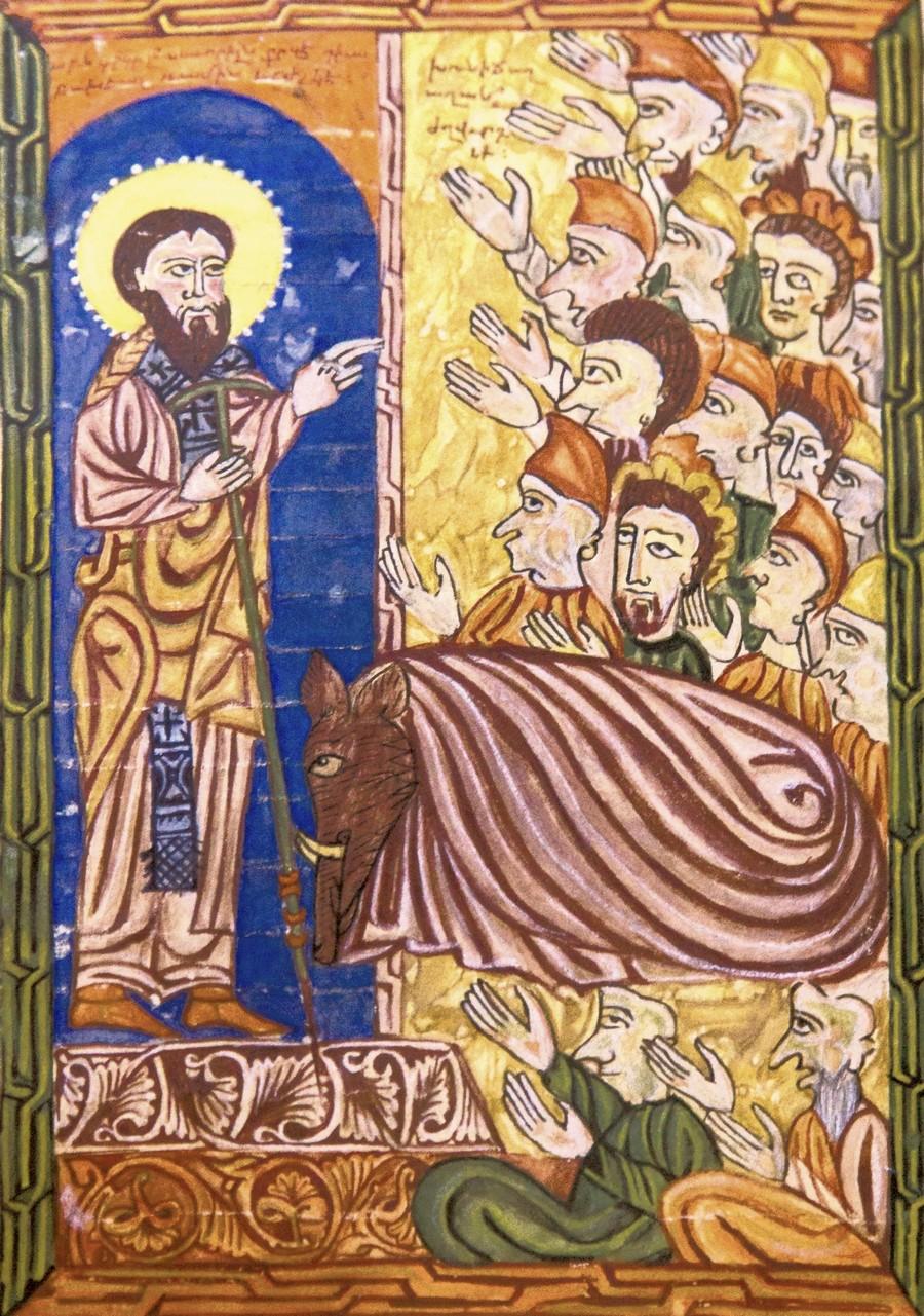 Священномученик Григорий, Просветитель Армении, и царь Трдат, утративший человеческий облик. Армянская миниатюра 1569 года. Матенадаран.