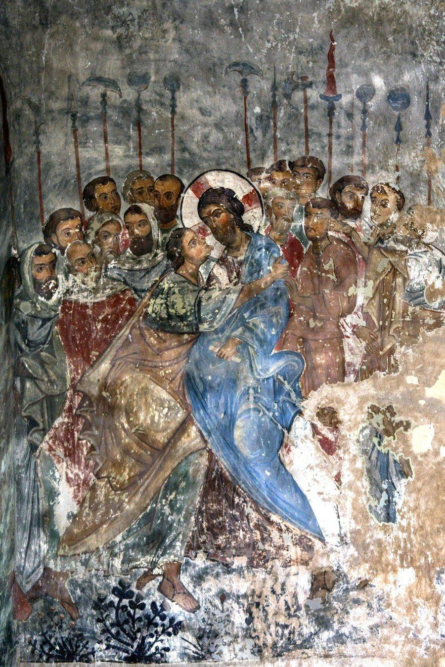 Поцелуй Иуды. Фреска храма Святого Саввы в монастыре Сапара, Грузия. Начало XIV века.