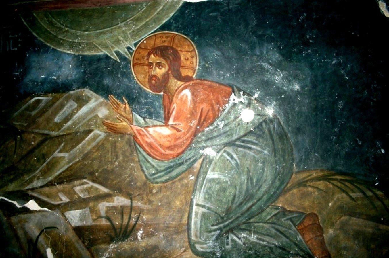 Моление о Чаше. Фреска монастыря Зарзма, Грузия. Середина XIV века.