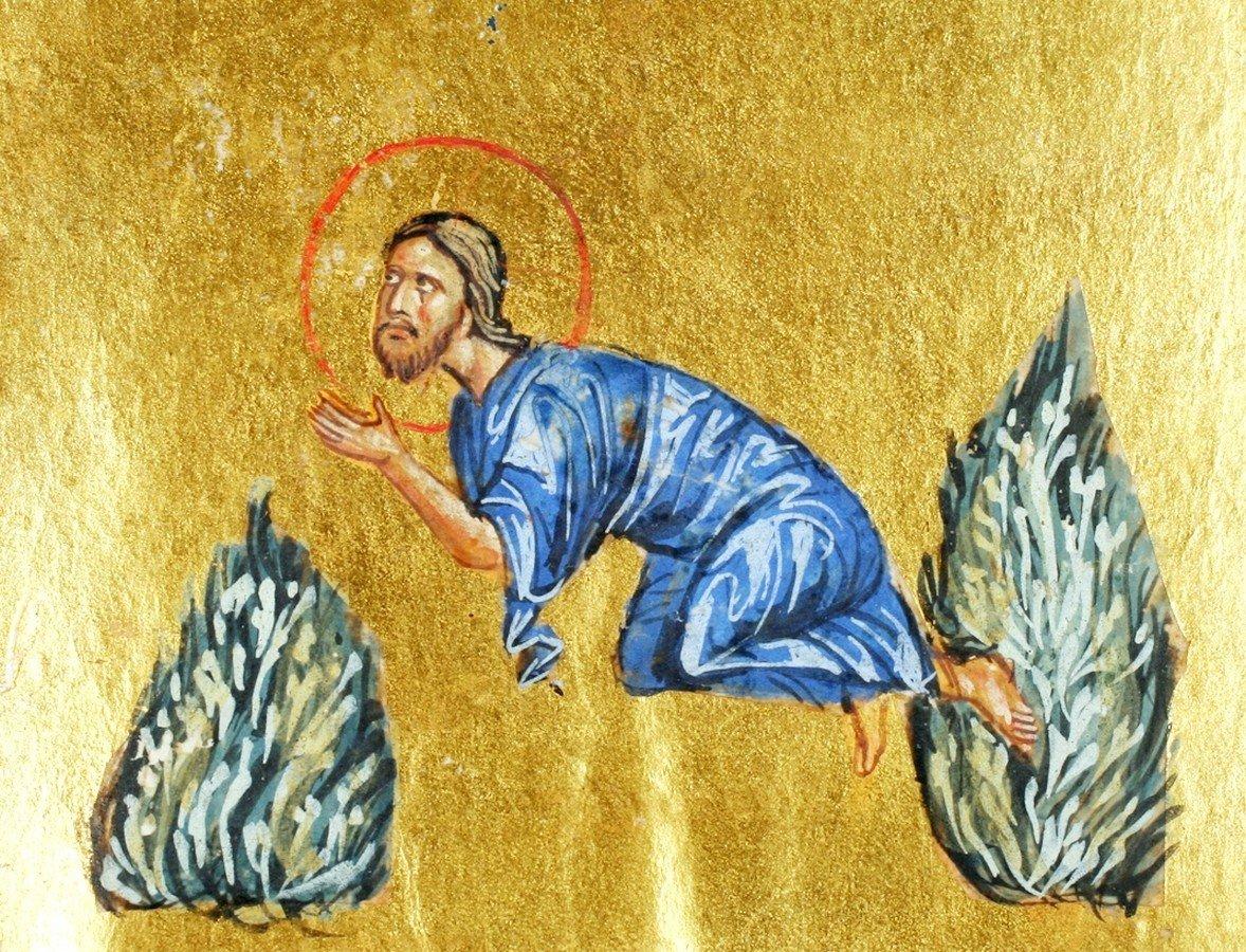 """Моление о Чаше. Миниатюра """"Гелатского Евангелия"""". Грузия, XII век."""