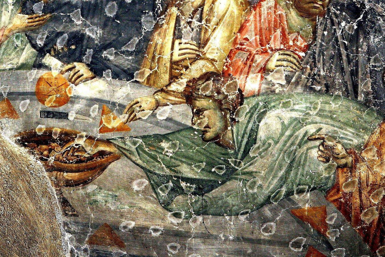 Тайная Вечеря. Фреска церкви Богородицы Левишки в Призрене, Косово и Метохия, Сербия. Около 1310 - 1313 годов. Иконописцы Михаил Астрапа и Евтихий. Фрагмент.