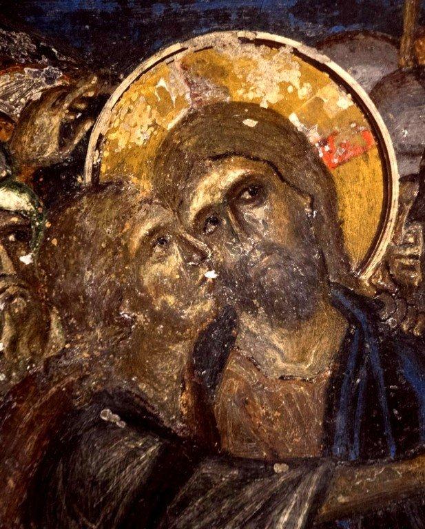 Поцелуй Иуды. Фреска церкви Святого Георгия в Оморфокклисии, Греция. 1295 - 1317 годы. Фрагмент.