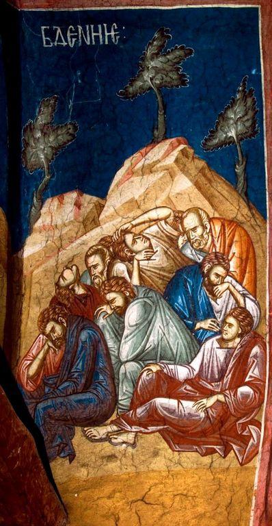 Моление о Чаше. Фреска монастыря Высокие Дечаны, Косово, Сербия. Около 1350 года. Фрагмент.