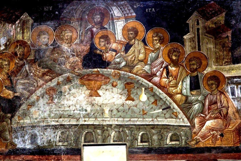 Тайная Вечеря. Фреска церкви Спаса в Кучевиште, Македония. 1330 - 1340-е годы.