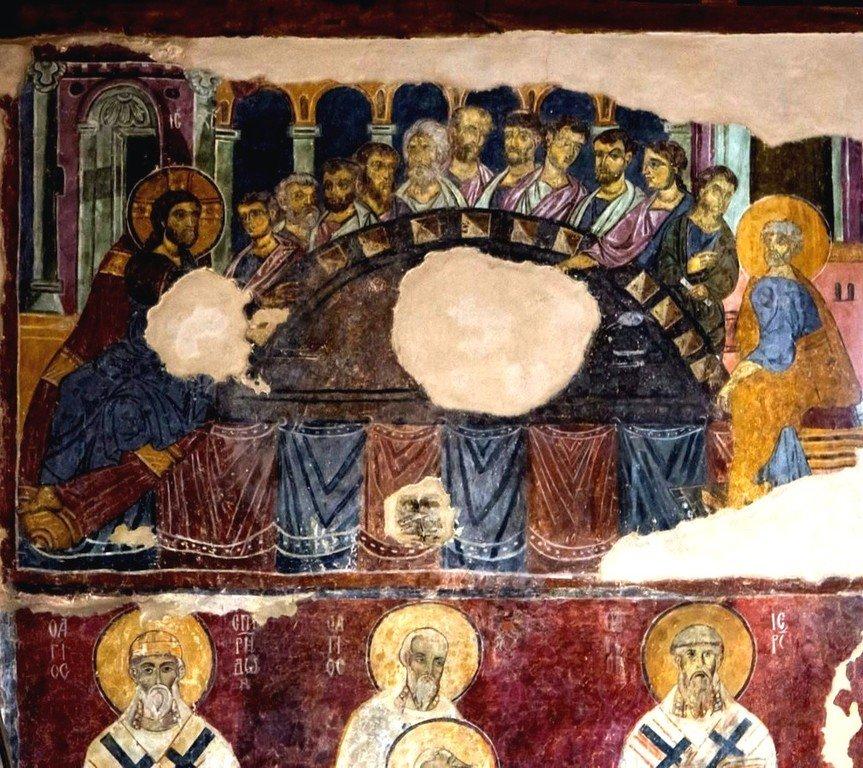 Тайная Вечеря. Византийская фреска в церкви Старая Митрополия в Верии, Греция.