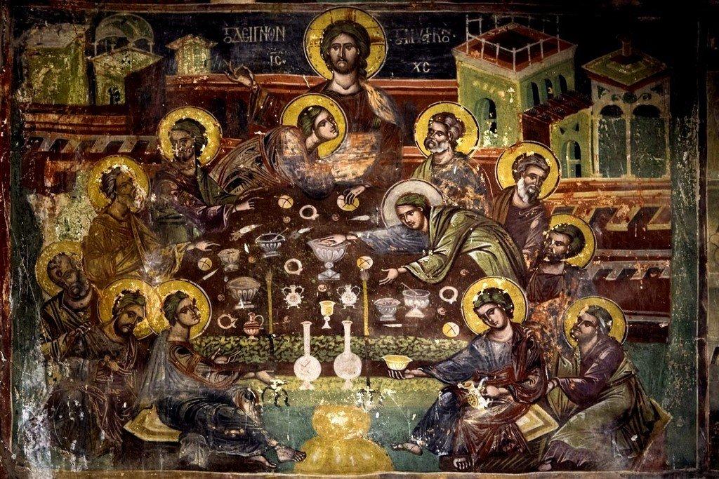 Тайная Вечеря. Фреска монастыря Панагии Мавриотиссы в Кастории, Греция.