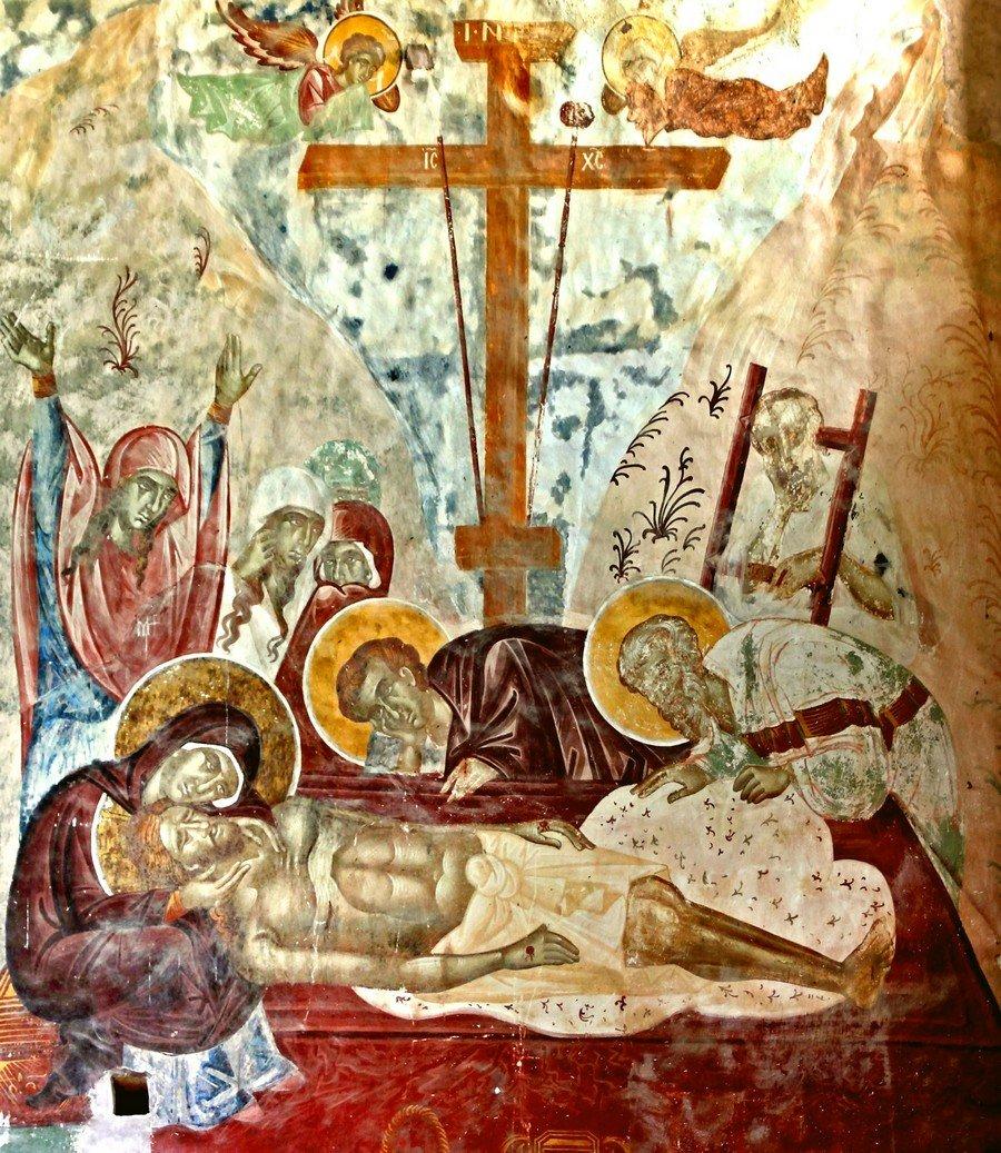 Положение во гроб (Оплакивание Христа). Фреска собора Рождества Пресвятой Богородицы монастыря Гелати, Грузия.